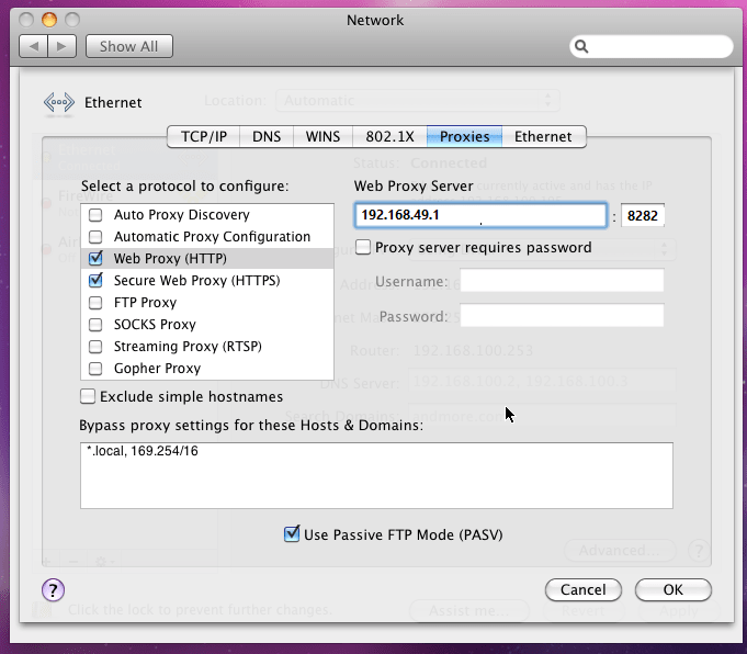 System-wide network proxy support for Macs